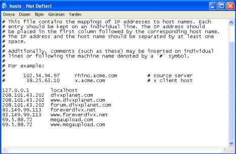 Erişmek istediğimiz siteleri hosts dosyamıza ekledik