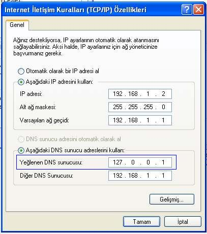 WindowsXP DNS Ayarlama